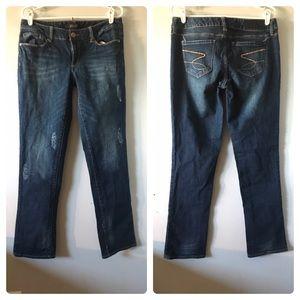 Seven 7 Straight Distressed Denim Jeans Sz 10